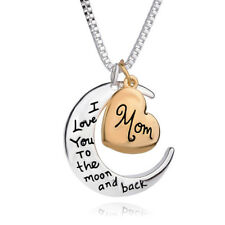 Rose Gold Heart & Moon Pendant Necklace Silver Chain Jewelry Christmas Mom Gift