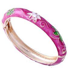 14K Gold Fille Purple Enamel White Flower womens Charm Chinese Bangle Bracelet