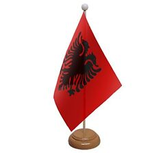 "ALBANIA TABLE FLAG 9""X6"" WITH WOODEN BASE FLAGS ALBANIAN"