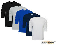 New Mens Plain Premium Soft Feel Long Sleeve T-Shirt 100% Combed Cotton Lot