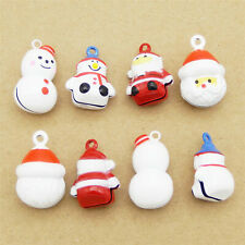 Enamel Brass Mixed Christmas Jingle Bells Pendant Charms DIY Accessories 8pcs