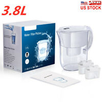 Water Filter Pitcher 10 Cup Purifier Filtration System W/ 2 Replacement Filters
