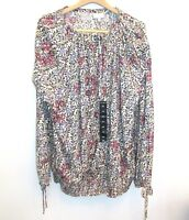 NEW Lucky Brand Womens Peasant Blouse Boho Floral Purple Blue Beige Plus Size 3X
