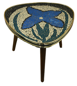 Cute German Mid Century Modern Plant Stand with Tile Mosaic Flower Table