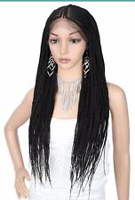 Hand Braided Synthetic Lace Front Fulani Cornrow Box Braids Wigs With Baby Hair
