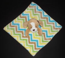 Little Miracles Dog Chevron Stripes Security Blanket Lovey Yellow Blue Tan Green