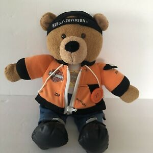 Harley Davidson Plush Dress Up Bear Zipper Button Snap Buckle Learning Toy