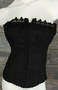 FREDERICKS OF HOLLYWOOD CORSET TOP BLACK FLORAL SIZE 34 LINGERIE COSTUME Sissy