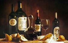 Large Framed Print - Vintage Style Still Life of Different Bottles of Wine (Art)