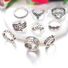 FT- 9 Pcs Women's Sunflower Hamsa Hand of Fatima Hollow Knuckle Rings Set Advanc