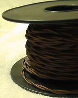Brown Twisted Rayon Covered Wire Antique Vintage Style Cloth Lamp Lights Cord