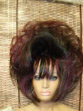 VEGAS WIGS DRAG QUEEN SHORT LAYERS WAVES TEASED BLACK PURPLE BROWN HIGHLIGHT HOT