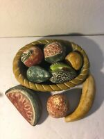 Mexican Pottery Bowl Basket of Fruit And Vegetables Plate
