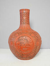 Large  Chinese  Hight  Relief  Of  Porcelain  Ball  Vase  With  Mark     M2032