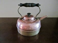 Vintage  Copper and Brass TEA KETTLE wooden handle ~ Made in England