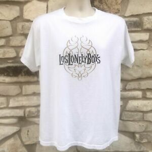 Los Lonely Boys T Shirt Mens Size Large L White Gold Flames