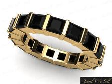 3.40Ct Princess Black Diamond Bar Set Eternity Wedding Band Ring 14k Yellow Gold