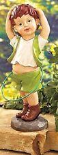 Nostalgic Little Boy Hula-Hooping Garden Statue