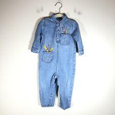 Vintage 90s Denim Body Suit Carpenter Embroidery Baby Sz 18 Mo Diaper Snaps