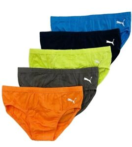 PUMA MEN'S BRIEF PACK 5 - ORANGE BLUE SZ SMALL - UNDERWEAR X5 LOW RISE FIT