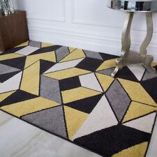 Yellow Grey Geometric Living Room Rugs Soft Ochre 3D Design Lounge Carpet Rugs