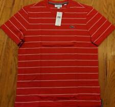 Mens Authentic Lacoste Heritage Striped T-Shirt Red/Flour 4 Medium $70