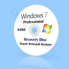 Microsoft Windows 7 Professional 64bit Re-Install Recovery Repair Fix Boot Disc