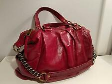 Hobo International Handbag Red Glazed Leather Large Tote Satchel