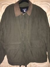 Mens Roundtree & Yorke Green Leather Collar Button Zip Coat Jacket  Size M