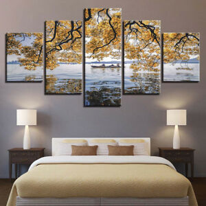 Yellow Tree Flowers Mimosa Seascape Boat Painting 5 Panel Canvas Print Wall Art
