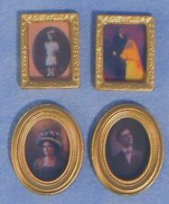 Set of 4 Dolls House Miniature Picture Frames - 2 Rectangular/2 Oval: 12th scale