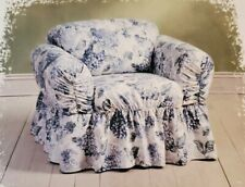 "Furio Elizabeth Blue Floral Vintage Semi Fitted 32"" to 40""  Chair Slipcover New"
