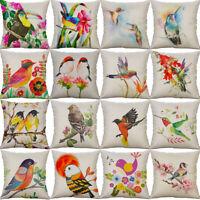 18'' Fashion Bird Print Pillow Case Cotton Linen Cushion Cover Sofa Home Decor