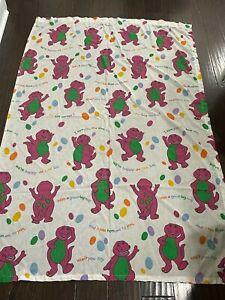 Barney Twin Flat Sheet Vintage Twin Purple Dinosaur Bedding Fabric Top 1992 Lyon