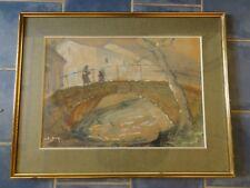 ancien tableau pastel et gouache signe SUZLY B (XX ème) promeneurs sur un pont
