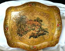 Rare, Turn Of The Century-Alcohol Proof-Paper Mache/Tole-Japanese Lacquered Tray