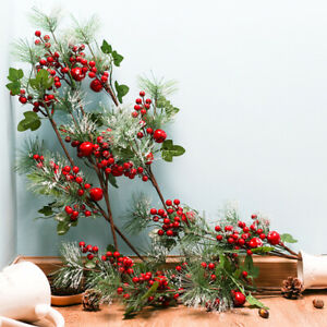 1Pc Christmas Artificial Pine Needles Red Berry Fake Plant Branch Xmas Party Dec