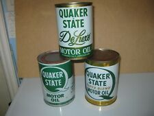 3 full cans Q S Deluxe Oil Can Trio Quaker State Q S Superblend Lot