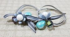 ELASTIC PONYTAIL HOLDER WITH FLOWER CHARM HAIR ACCESSORY MINT GREEN