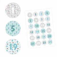 24 Adventskalender Zahlen Aufkleber HELLBLAU/GRAU - rund 4 cm Ø - Sticker