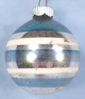 Vintage Christmas Ornament Mercury Glass Blue White Stripes Shiny Brite #245