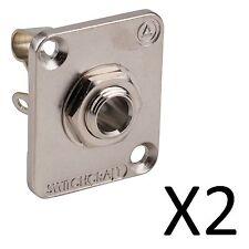 "(2 Pack) Switchcraft E11 1/4"" Mono EH Panel Mount Jack - Nickel Finish"