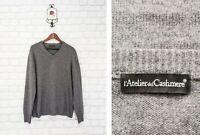 Atelier del Cashmere 100% Cashmere V Neck Men's Jumper Sweater  Knit Size L