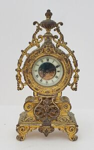 Antique 19th C French Neoclassical Gold Gilt Bronze Mantel Shelf Clock