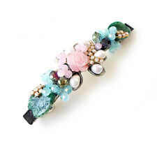 HANABE KOREA Handmade Stone Cultured Pearl Crystal Hair Pin Barrette Pink Green