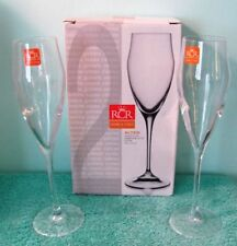 NEW RCR Italian Crystal Glass Champagne Flutes, Set of 2, NIB