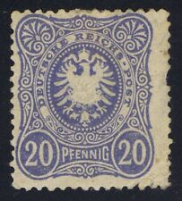 Germany 1880 20pf Pale Blue SG42 mint heavy hinged stamp has 1 pulled perf