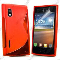 Housse Etui Coque Silicone Motif S-line Gel Souple Rouge LG Optimus L5 E610