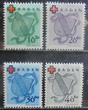 ALLIED OCCUPATION 1949 Baden, Red Cross Fund Set of 4 m/h