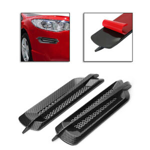 2PCS Carbon Fiber Car Side Air Flow Vent Hole Fender Cover Intake Grille Sticker